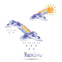 illustration of a rainbow, sun and rain.