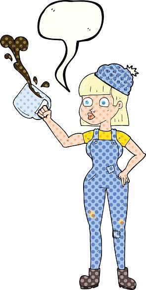 comic book speech bubble cartoon female worker with coffee mug
