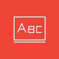 Letters abc on blackboard line icon