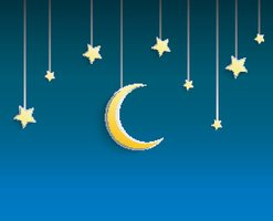 Stars and crescent moon hanged a rope