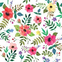 Seamless floral  background. Isolated red flowers and leafs drawn watercolor