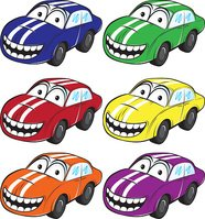 smiling cartoon car with stripes on the hood vector illustration