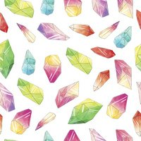 Seamless pattern with watercolor crystals or minerals.