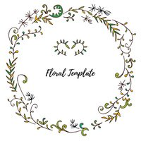 vector floral frame with leaves  and plants