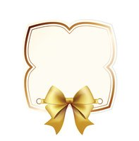 High Quality Label with Gold Bow on White Background.