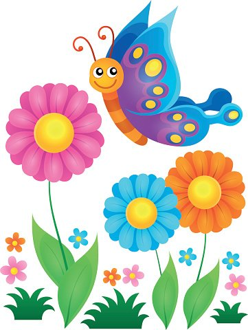 Flowers and happy butterfly theme 1