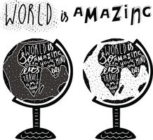 Hand drawn black globe logo with lettering quotes.