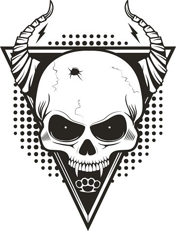 Skull with horns on triangle background.