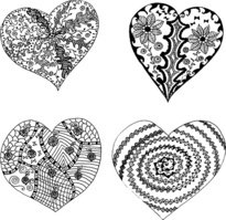 Set of hand drawn hearts in tribal style.