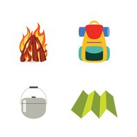 Hike vector set isolated. Fire, backpack, cauldron, card in flat