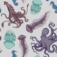 Seamless sea pattern with octopus