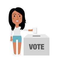 Illustration Of Female Character Putting Vote In Ballot Box