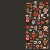 Doodle coffee shop items with seamless pattern