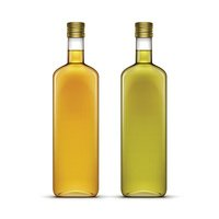 Vector Set of Beverages Drinks or Olive Oil Glass Bottles