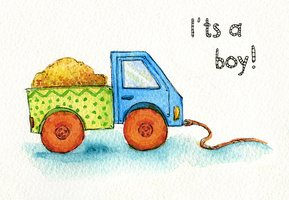 Truck toy car for boy watercolor