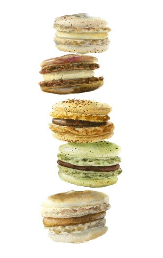 Watercolor collection of french macaroons.