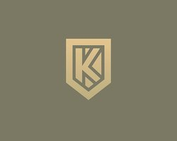 Abstract letter K shield logo design template. Premium nominal monogram