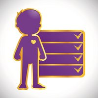 Golden Silhouette Icon of Little Boy Body With Check Mark