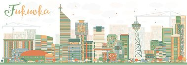 Abstract Fukuoka Skyline with Color Landmarks.