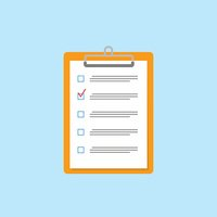 Clipboard with checklist icon. Flat style