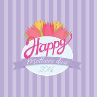 Card tamplate for mothers day. flowers tulips, flat vector illustration