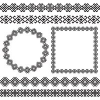 Ethnic borders set.  Round and square frames.
