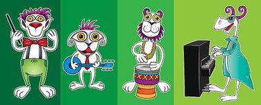 little alien musicians band with banjo piano and drum
