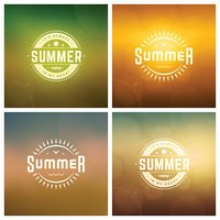 Summer Holidays Retro Typography Labels or Badges and Vector Backgrounds.