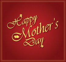 Happy Mothers day gold letters on white paper