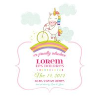 Baby Shower or Arrival Card - Baby Unicorn Girl