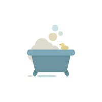 tub with bubbles and beautiful illustration of duck in the