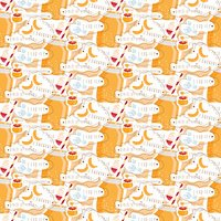 Seamless pattern of smoothie of honey,banana and yogurt. Vector