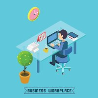 Modern Workplace. Isometric Office. Businessman at Work. Office Table