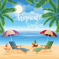 Tropical Paradise. Exotic Island with Palm Trees. Vacation and Travel
