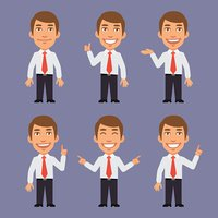 Businessman Points in Different Versions