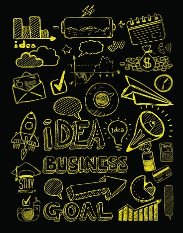 Business doodles Sketch set : infographics elements isolated