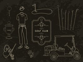 Hand drawn golf equipment collection. Vector illustration