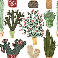 Flat seamless pattern with succulent plants and cactuses in pots.