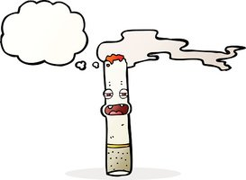 cartoon cigarette character with thought bubble