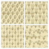 Set of vector seamless vintage pattern with outline vine grapes