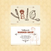 The vintage template of business card for a barber shop.