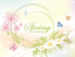 Abstract spring background with flowers
