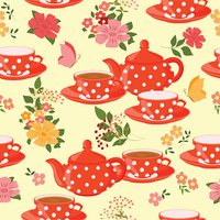 Teapots, cups of tea, flowers and butterflies.