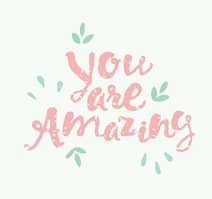 Drawn calligraphic quote You are amazing poster