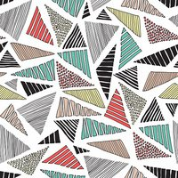 Hand drawn doodle colorful  triangles seamless retro pattern vector