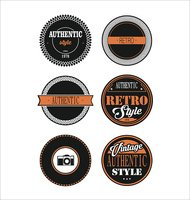 Vintage labels black and orange set