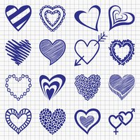 Hand drawn set of heart icons on a checkered paper