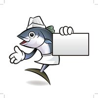 Tuna Fish Character is Holding a business card.