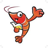 Shrimp mascot the right hand guides and the left hand