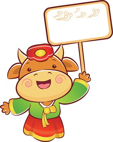 Cow Character is holding a picket.